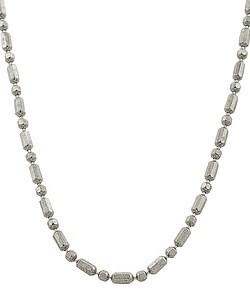 Fremada 14k White Gold Alternating Bead Necklace