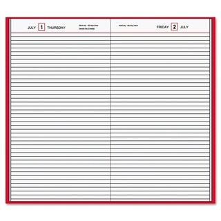 AT-A-GLANCE Standard Diary Daily Diary, Recycled, Red, 7 11/16 x 12 1/8, 2019