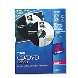 Avery CD/DVD White Matte Labels for Laser Printers (Pack of 250)