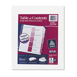 Avery 11167 Ready Index 5 Tab Color - 24 Sets/Box