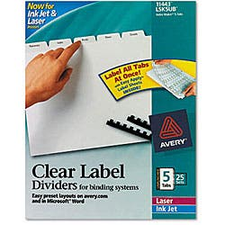 Avery 11443 Index Maker Clear Label Dividers with White Tabs - 5 Sets/Box|https://ak1.ostkcdn.com/images/products/2691373/3/Avery-11443-Index-Maker-Clear-Label-Dividers-with-White-Tabs-5-Sets-Box-P10884081.jpg?impolicy=medium