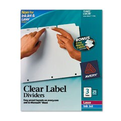 Avery 11445 Index Maker 3-Tab White Divider Clear Laser/Ink Jet Labels