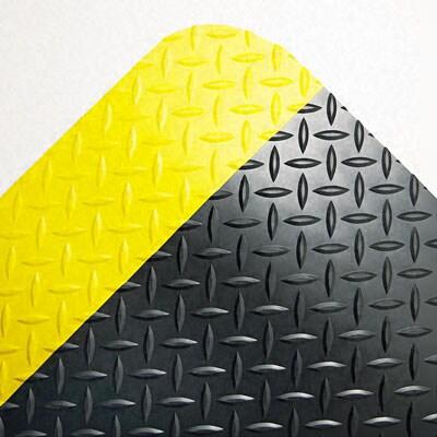 Industrial Deck Plate Anti-Fatigue Mat, Vinyl, 36 x 60, Black/Yellow Border