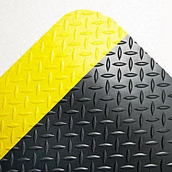 Industrial Deck Plate Black/ Yellow Antifatigue Mat