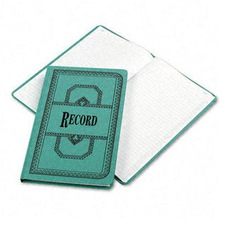 Boorum & Pease Record/Account Book, Record Rule, Blue, 300 Pages, 12 1/8 x 7 5/8