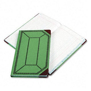 Boorum & Pease Record/Account Book, Journal Rule, Green/Red, 300 Pages, 12 1/2 x 7 5/8