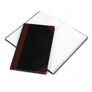 Boorum & Pease Record/Account Book, Black/Red Cover, 150 Pages, 14 1/8 x 8 5/8