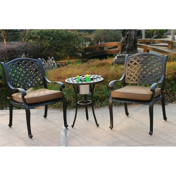 Yorkshire 3 Piece Aged Bronze Aluminum Bistro Set Cushioned Chairs With Ice Bucket Table To