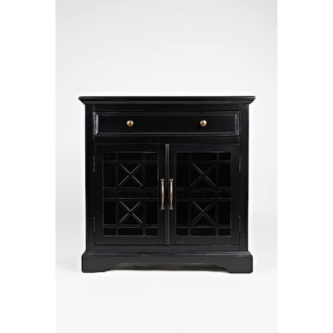 Craftsman Series 32 Inch Wooden Accent Cabinet with Fretwork Glass Front, Black