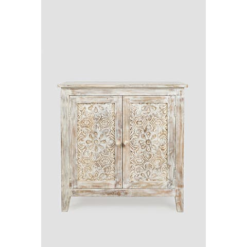 The Curated Nomad Linda Washed White Carved Mango Wood Accent Chest