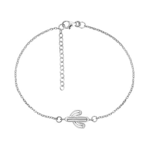 Handmade Resilient Desert Cactus Sterling Silver Chain Charm Bracelet (Thailand)