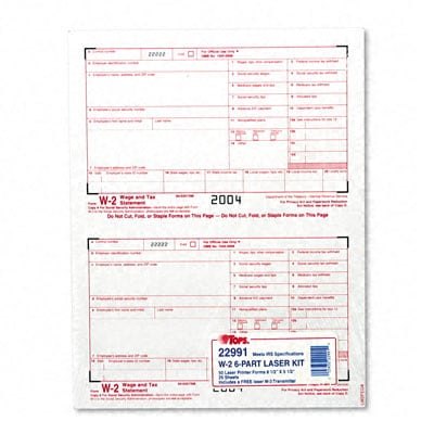 Report W-2 Tax Forms for Laser Printers - 50 Sets per Pack