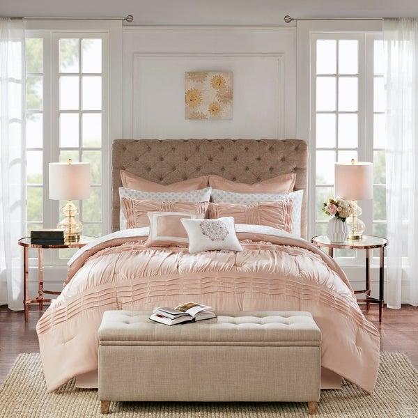 Madison Park Essentials Rosalia Blush 16 Piece Complete Bedding Set With 2 Sheet Sets