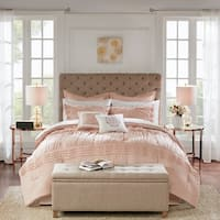Madison Park Essentials Rosalia Blush 16 Piece Complete Bedding Set With 2 Sheet Sets