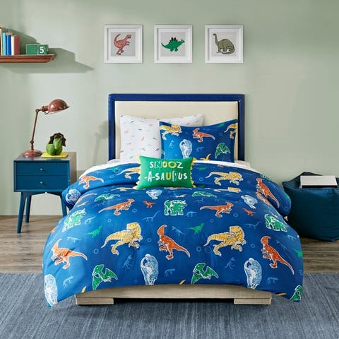 Mi Zone Kids Tyler Blue Robot Dinosaur Complete Bed and Sheet Set