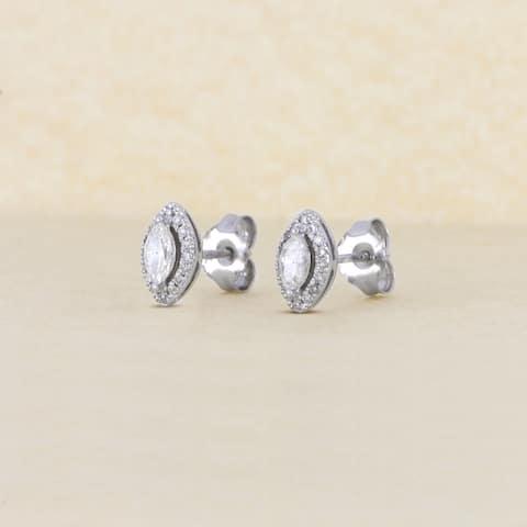 1/3ct TDW Diamond Marquise Shape Diamond Halo Earrings in 10k Gold by De Couer