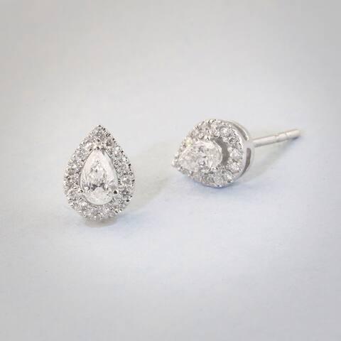 1/3ct TDW Diamond Pear Shape Diamond Halo Earrings in 10k Gold by De Couer