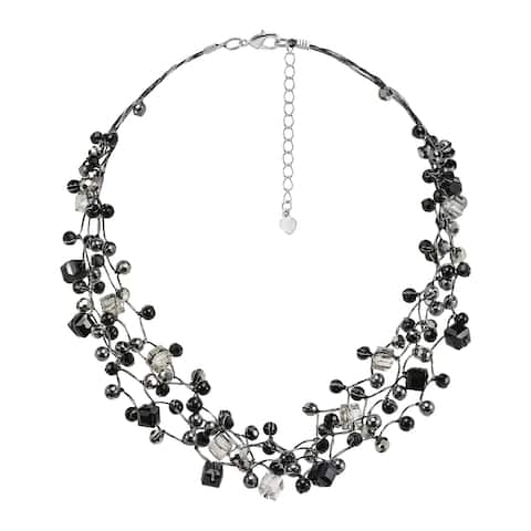 Handmade Stunning Black Grey Tones Stone Pearl Crystal Statement Necklace (Thailand)