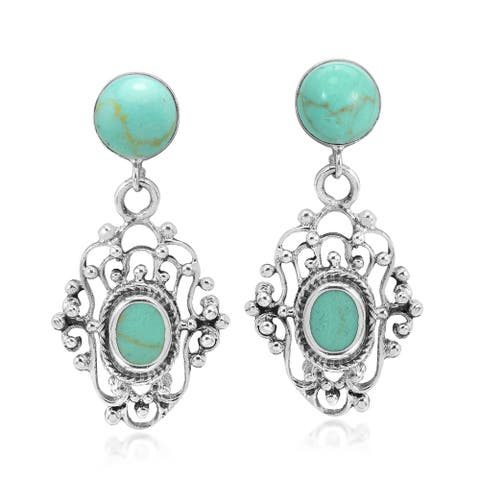 Handmade Victorian Inspired Stone Sterling Silver Swirl Dangle Earrings (Thailand)