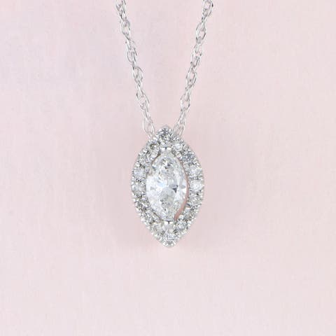 1/6ct TDW Marquise Shape Diamond Halo Necklace in 10k Gold by De Couer