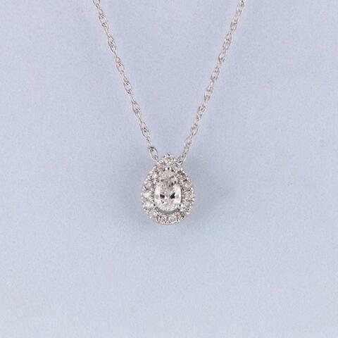 1/6ct TDW Pear Shape Diamond Halo Necklace