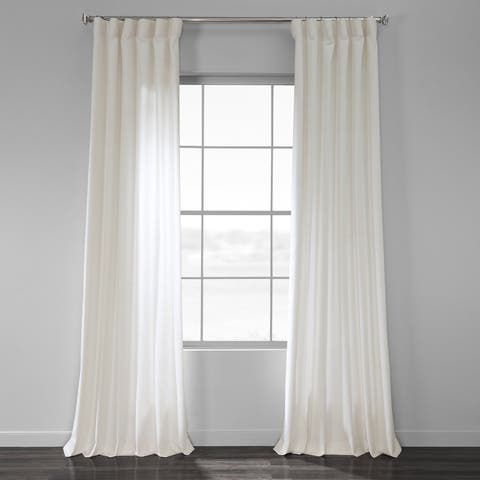 Exclusive Fabrics Solid Country Cotton Linen Weave Curtain Panel
