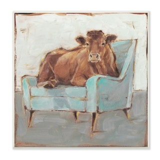 The Stupell Home Decor Brown Bull on a Blue Couch Neutral Color Painting Wall Plaque Art, 12 x 12, Proudly Made in USA - 12 x 12