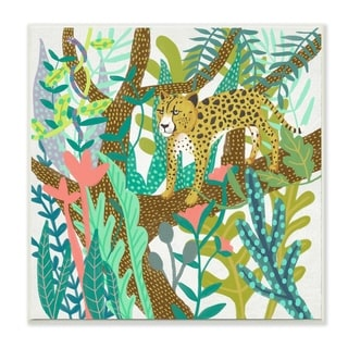 The Stupell Home Decor Bright Jungle Cheetah in the Canopy Illustration Wall Plaque Art, 12 x 12, Proudly Made in USA - 12 x 12