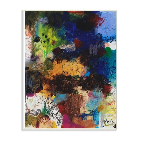 The Stupell Home Decor Multicolor Bright Crayon Scribbles Abstract Wall Plaque Art, 10 x 15, Proudly Made in USA