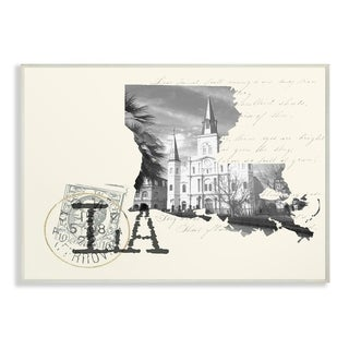 The Stupell Home Decor Louisiana Black and White on Cream Paper Postcard Wall Plaque Art, 10 x 15, Proudly Made in USA