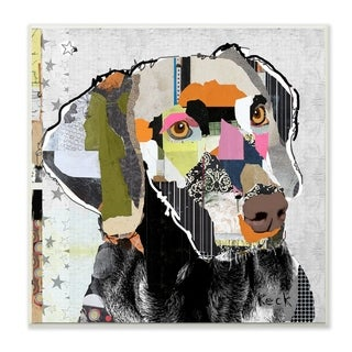 The Stupell Home Decor Paint Splatter Color Block Weimaraner Portrait Wall Plaque Art, 12 x 12, Proudly Made in USA - 12 x 12