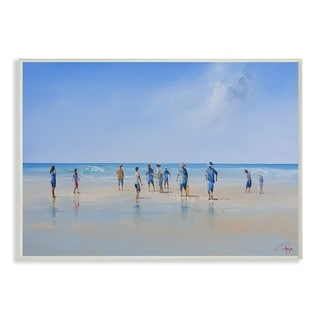 The Stupell Home Decor Beach Goers By the Ocean Bright Blue and Grey Wall Plaque Art, 10 x 15, Proudly Made in USA