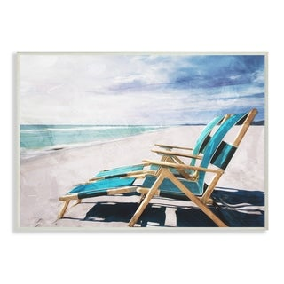 The Stupell Home Decor Set of Teal Blue Chairs on the Beach  Wall Plaque Art, 10 x 15, Proudly Made in USA