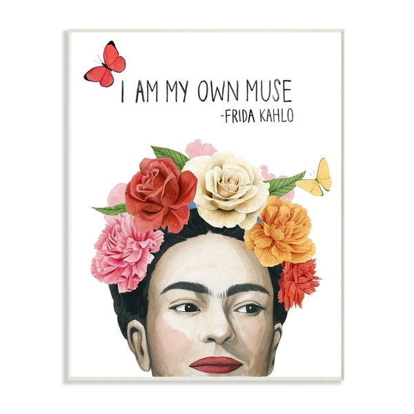 The Stupell Home Decor Pink and Coral My Own Muse Frida's Flowers Wall Plaque Art, 10 x 15, Proudly Made in USA