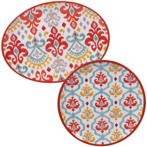 Certified International Bali 2-piece Melamine Platter Serveware Set