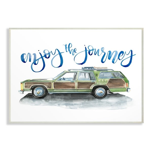 The Stupell Home Decor Enjoy The Journey Green Station Wagon Watercolor Wall Plaque Art, 10 x 15, Proudly Made in USA