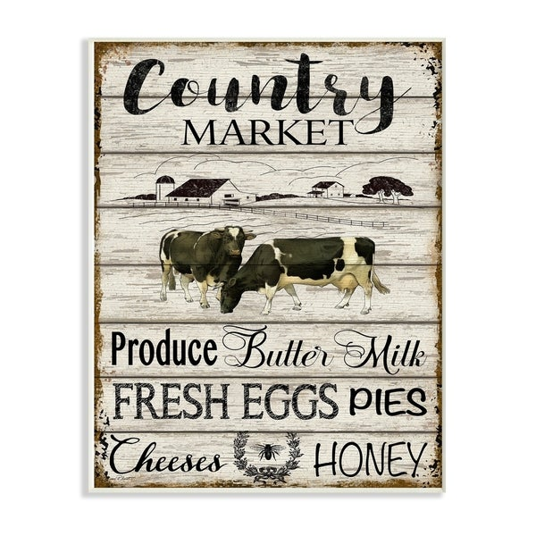 The Stupell Home Decor Farmhouse Planked Look Country Market Sign Wall Plaque Art, 10 x 15, Proudly Made in USA