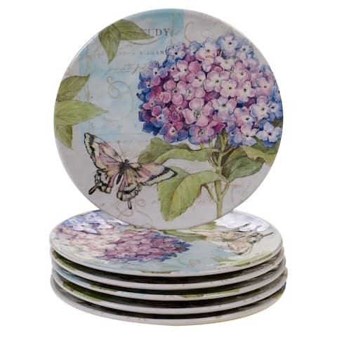 Certified International Hydrangea Garden Dessert Plates, Set of 6