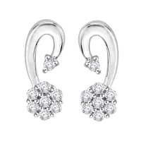 10K White Gold 1/10ct TDW Diamond Floral Cluster Earrings (G-H, I2-I3)