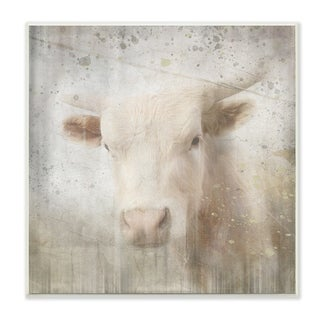 The Gray Barn Distressed Surface Rustic Cow Portrait Wall Plaque Art - 12 x 12