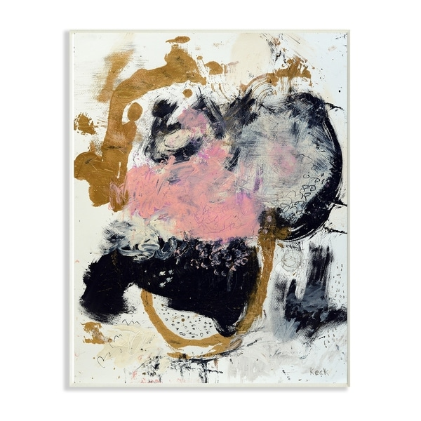 The Stupell Home Decor Pink Black and Yellow Dry Brushed Abstract Painting Wall Plaque Art, 10 x 15, Proudly Made in USA