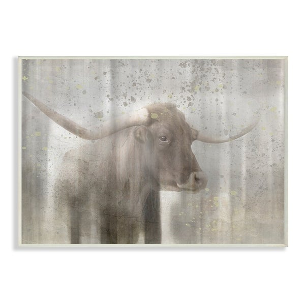 The Stupell Home Decor Washed Out Distressed Surface Rustic Bull Wall Plaque Art 10 X