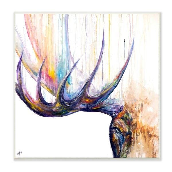 The Stupell Home Decor Rainbow Watercolor Dripping Moose Antlers Wall Plaque Art, 12 x 12, Proudly Made in USA