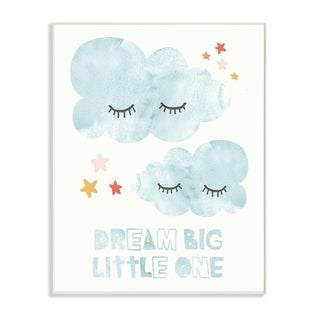 The Kids Room By Stupell Dream Big Little One Mod Blue Clouds Wall Plaque Art, 10 x 15, Proudly Made in USA