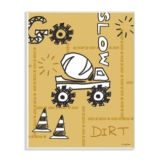 The Kids Room By Stupell Go Slow Yellow Cement Truck Construction Zone Wall Plaque Art, 10 x 15, Proudly Made in USA