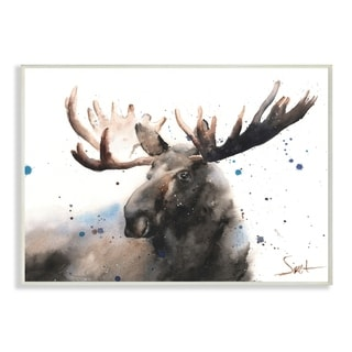 The Stupell Home Decor Majestic Moose Watercolor with Blue Splatter Wall Plaque Art, 10 x 15, Proudly Made in USA