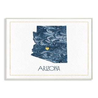 The Stupell Home Decor Arizona Minimal Blue Marbled Paper Silhouette Wall Plaque Art, 10 x 15, Proudly Made in USA