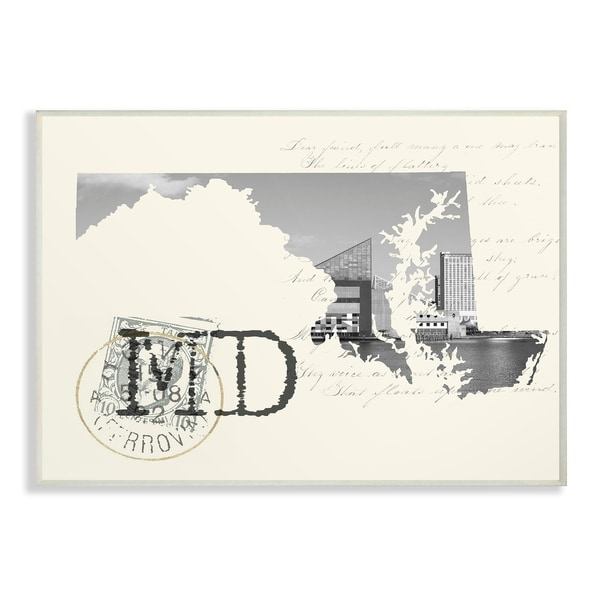 The Stupell Home Decor Maryland Black And White On Cream Paper Postcard Wall Plaque Art