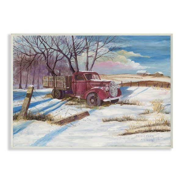 The Stupell Home Decor Red Pickup Truck Scene with Snow on the Ground Wall Plaque Art, 10 x 15, Proudly Made in USA