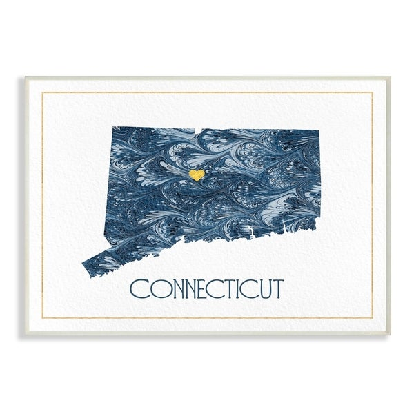 The Stupell Home Decor Connecticut Minimal Blue Marbled Paper Silhouette Wall Plaque Art, 10 x 15, Proudly Made in USA